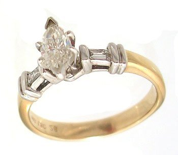 5113: 14KY .50cttw Diamond Marq bagg Wedding Ring