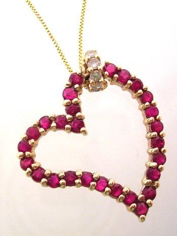 5304: 14ky 1ctw Ruby Round Diamond Designer Heart Penda