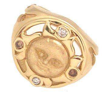 5311: 14KY .12cttw Diamond Rd Sun Ring