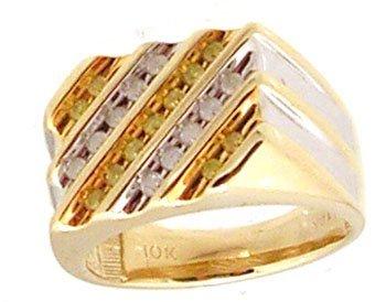 5314: 10KY .50cttw White Yellow Diamond Rd Diagonal Men