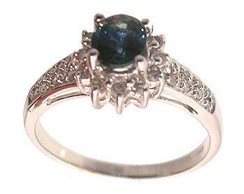 1112: 14kw .67ct Sapphire Oval .22ctw Diamond Pave Ring