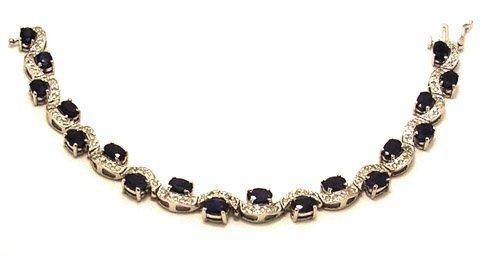 1114: 14kw 10.8ctw Sapphire .90ct Dia Bracelet Apr-$222