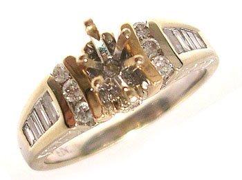 1116: 14KY .38ct Diamond bag/rd Semi Mount Ring