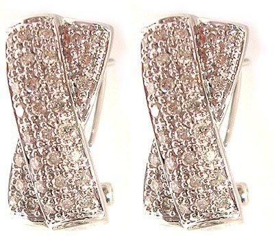 1117: 14kw .50ctw Diamond Round Pave X Design Omega Ear