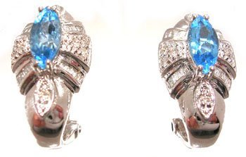 1302: 14KW 1.70ct Blue Topaz .33ct Dia rd/bag Omega Ear
