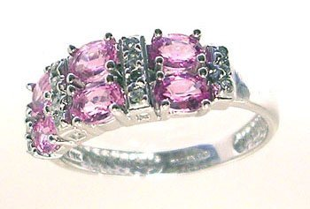 1310: 10KW 1ct Pink Sapphire oval Diamond Side set Ring