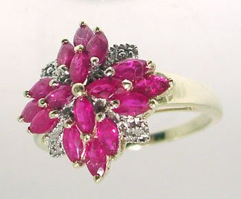 1312: 14KY 1.71ct Ruby marq Diamond Ring
