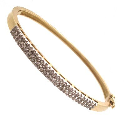 1316: 10ky .50ctw Diamond Round 2Tone Bangle