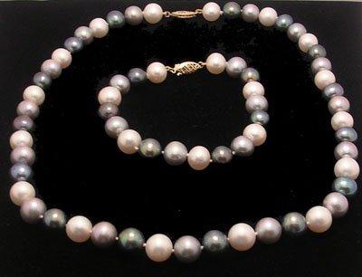 2101: 14ky 9mm Multicolor Pearl Necklace Bracelet Set