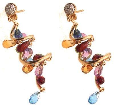 2104: 14ky Multigem Briollet Drop Diamond Earrings