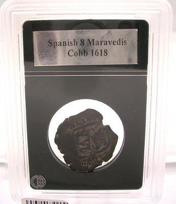 2106: Spanish 8 Maravedis Cobb Coin 1618