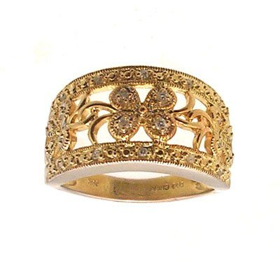 2110: 14KW Diamond Pave Floral 2 tone Band Ring