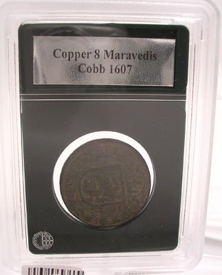 2143: Copper Spanish 8 Maravedis Cobb Coin 1607