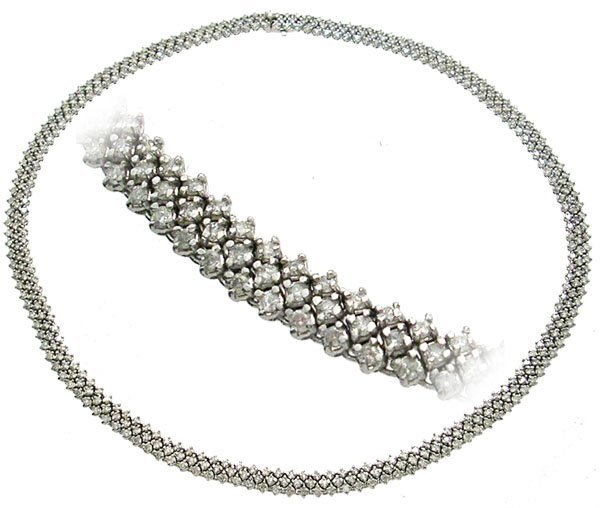 2163: 18KW 11.88ctw Diamond 3 Row Necklace 41gm