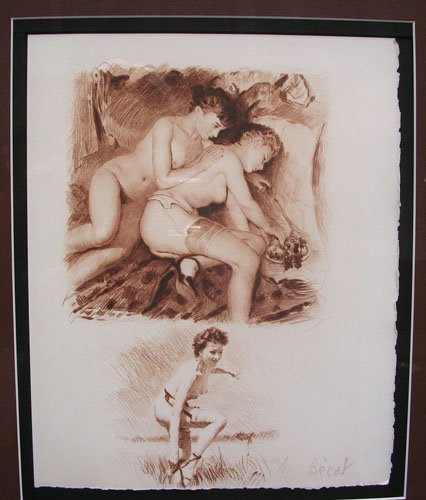 2218: Original Dry Point Etching by Paul Emile Becat