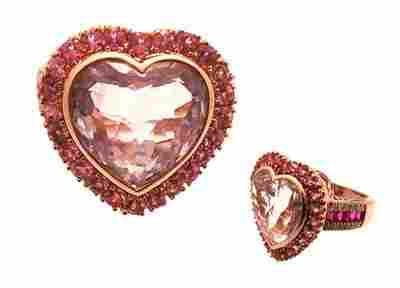 14kr 6.5ct Amethyst Heart 1.46ctw Pk Sapp Ruby Di
