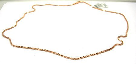 2104: 14KRose Gold 18in Solid Box Chain Necklace
