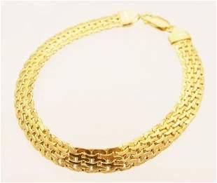 14KY Italian flat woven link Gold Bracelet 5.3grm