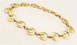 14KY designer circle link Gold Bracelet 6.6gram
