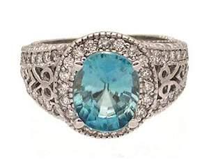 14KW 3ct Blue Zircon .63ct Diamond Pave Filigree