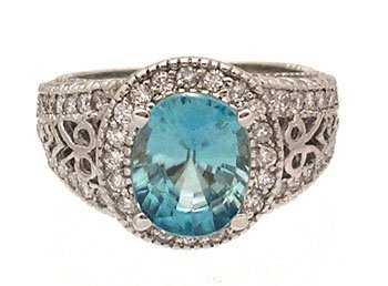 2108: 14KW 3ct Blue Zircon .63ct Diamond Pave Filigree