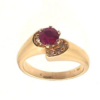 2109: 14ky .39ct Ruby Round Diamond Ring