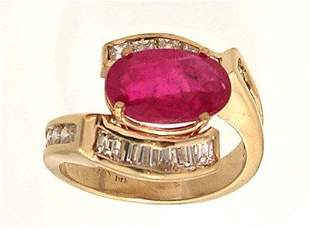 14ky 3.10ct Ruby Oval 1.18ctw Dia SideRing APPR $