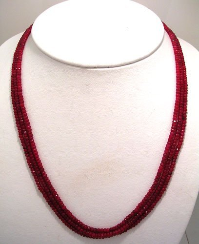 2112: 208ct Ruby faceted bead 3 Strand Necklace