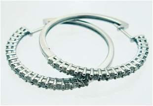 14kw 1ctw Diamond Round Hoop Earrings