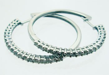 2113: 14kw 1ctw Diamond Round Hoop Earrings