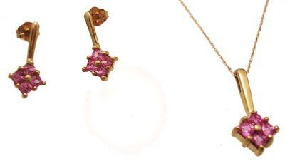 2302: 10ky Pink Sapphire Sq Cluster Drop Earring Neckla