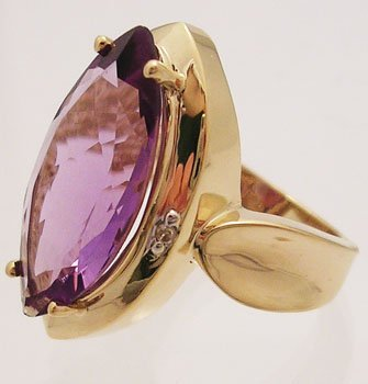 2312A: 14ky 5ct Amethyst Marquise Diamond Cocktail Ring
