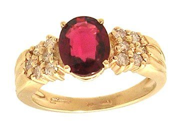2319: 14ky 1.82ct Red Spinel Oval .36ctw Diamond Ring