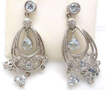 3102: 10kw 1.58ctw Aquamarine Pear Round Dangle Earring