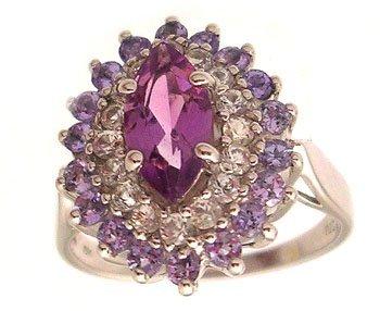 3104: 10kw Marquise Amethyst Topaz & Tanzanite Ring