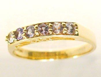 3104A: 10KY Tanzanite rd 6 stone Band Ring
