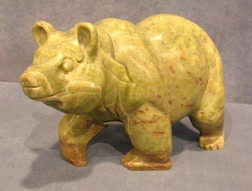 3104B: Carved Oriental Green Jade Bear