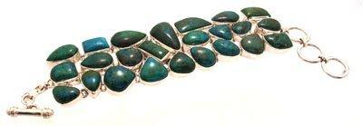 3106: SSilver Turquoise link bracelet 121.29grams