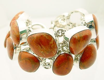 3106A: SSilver Red Coral Cbachon 2 Row Toggle Bracelet