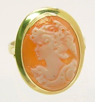 3109: 18KY Italian Cameo 16x12mm bezel ring
