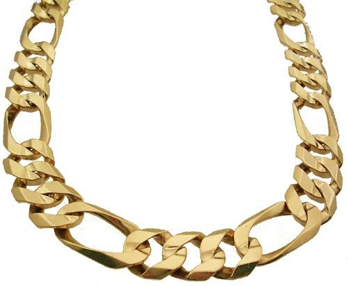 3205: 10ky 19mm Wide Figaro Chain Mens 26 Inch Necklace
