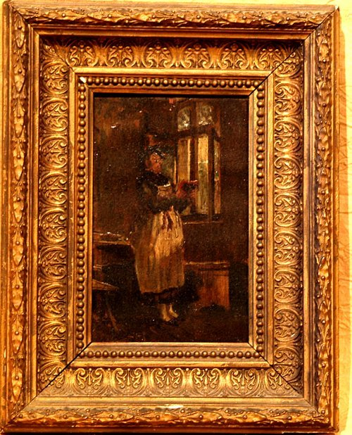 100D: 18th Century Miniature Oil on Panel in Period Fra