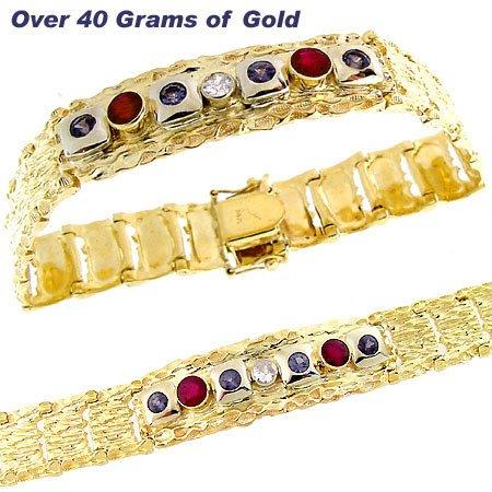 3058: 14YG 3.50ct Ruby Sapphire ruby mans nugget bracel