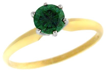 3003: 14KY 2/3ct blue green diamond solitaire ring