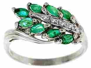WG .71ct emerald marquise diamond band ring