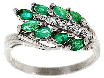 3004: WG .71ct emerald marquise diamond band ring