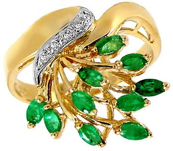 3005: .75ct Emerald marquise & dia cluster ring