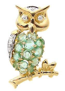 3006: 1.15ct emerald dia Owl Pin/Pendant