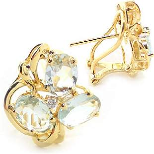 4ct aquamarine 6 oval dia cluster earring