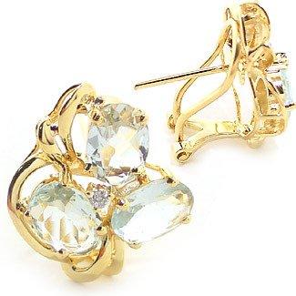 3007: 4ct aquamarine 6 oval dia cluster earring